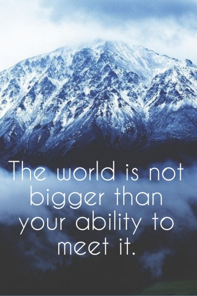 The world is not bigger than your ability to meet it.