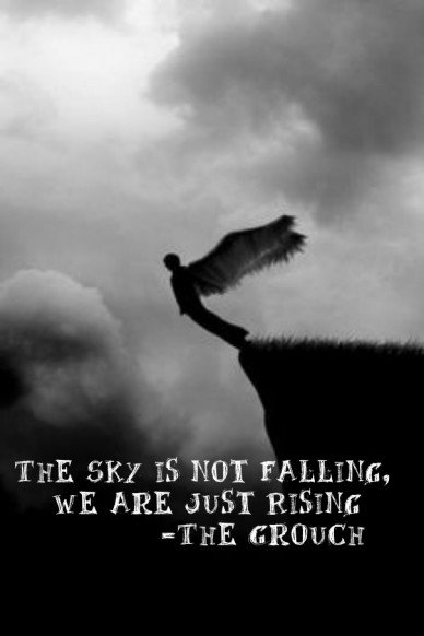 The sky is not falling, we are just rising -the grouch