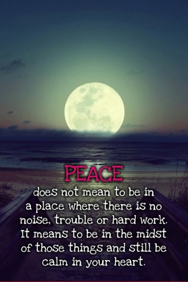 Peace does not mean to be in a place where there is no noise, trouble or hard work. it means to be in the midst of those things and still be calm in your heart.