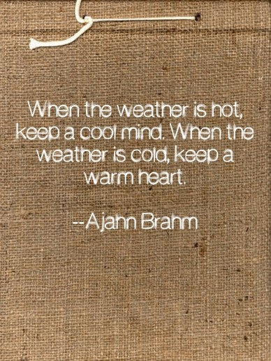 When the weather is hot, keep a cool mind. when the weather is cold, keep a warm heart. --ajahn brahm
