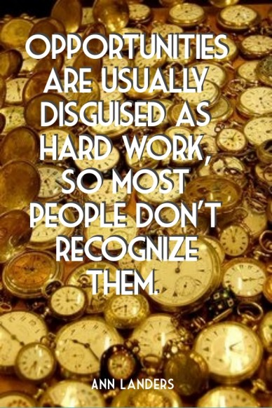 Opportunities are usually disguised as hard work, so most people don't recognize them. ann landers