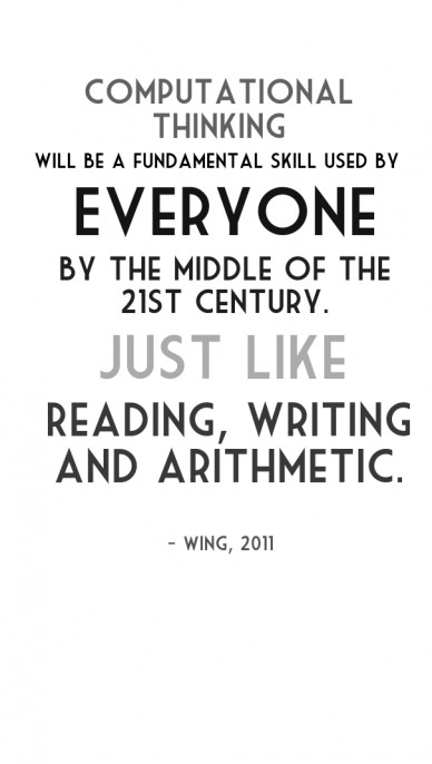 Computational thinking will be a fundamental skill used by by the middle of the 21st century. everyone just like - wing, 2011 reading, writing and arithmetic.