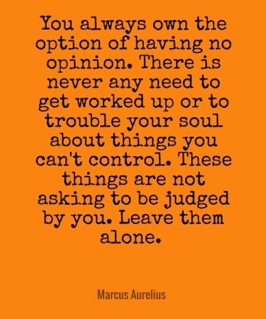 You always own the option of having no opinion. there is never any need to get worked up or to trouble your soul about things you can't control. these things are not asking to