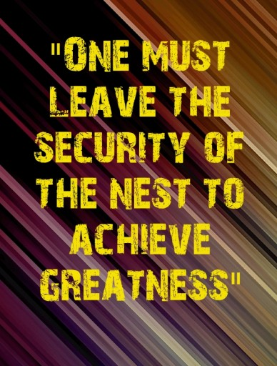 """one must leave the security of the nest to achieve greatness"""