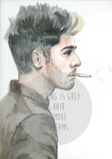 Everything is grey his hair his smoke his dreams