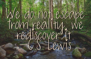 We do not escape from reality, we rediscover it. -c.s. lewis