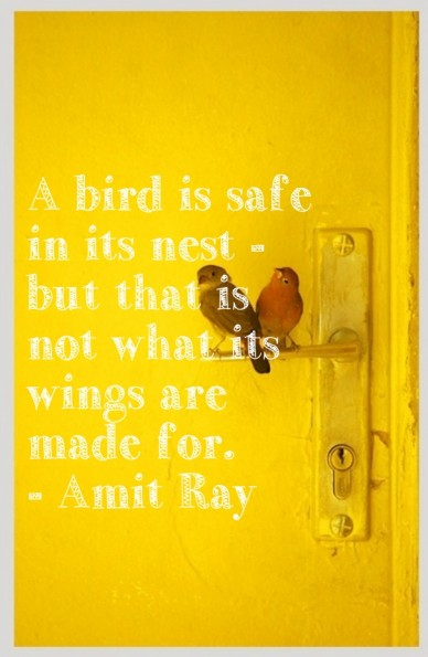 A bird is safe in its nest - but that is not what its wings are made for. - amit ray