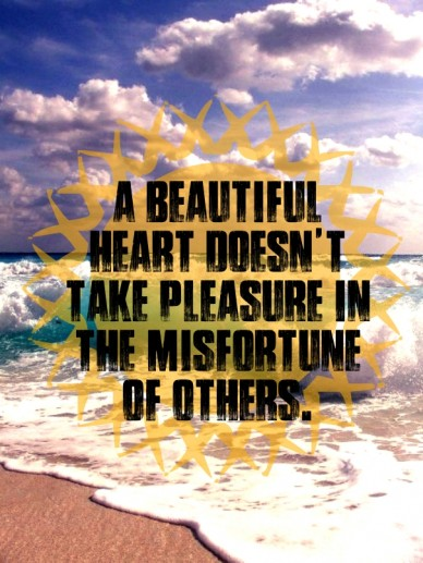 A beautiful heart doesn't take pleasure in the misfortune of others.