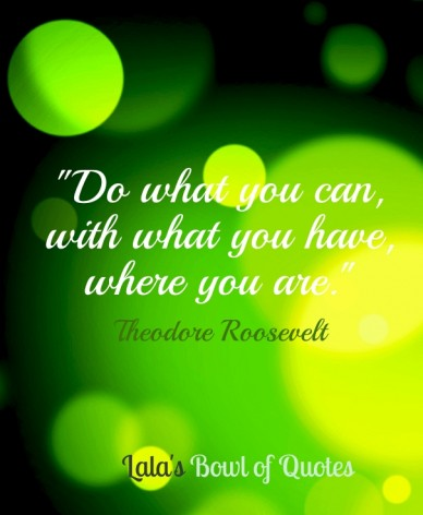 """""""do what you can, with what you have, where you are.""""theodore roosevelt lala's bowl of quotes"""
