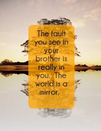 The fault you see in your brother is really in you. the world is a mirror. rumi