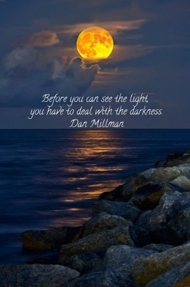 Before you can see the light, you have to deal with the darkness. dan millman