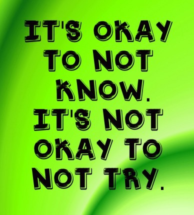 It's okay to not know.it's not okay to not try.
