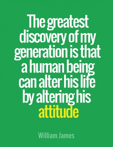 The greatest discovery of my generation is that a human being can alter his life by altering his attitude william james
