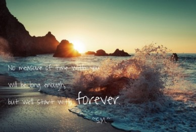No measure of time with you will be long enough, but we'll start with forever. ~s.m.~