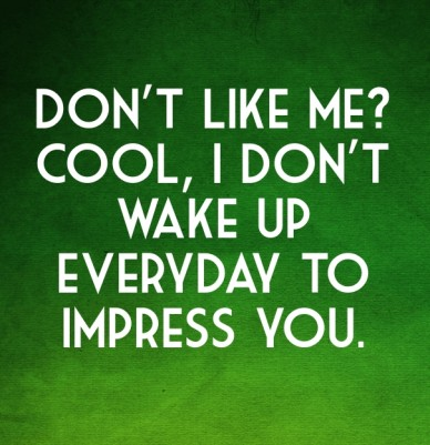 Don't like me? cool, i don't wake up everyday to impress you.