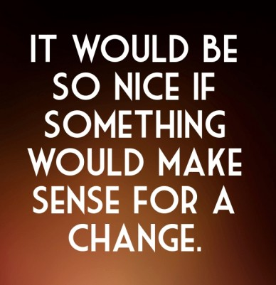 It would be so nice if something would make sense for a change.