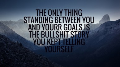 The only thing standing between you and yourr goals is the bullshit story you kept telling yourself