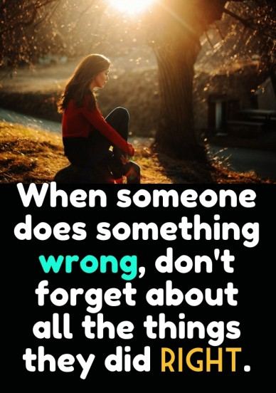 When someone does something wrong, don't forget about all the things they did right.