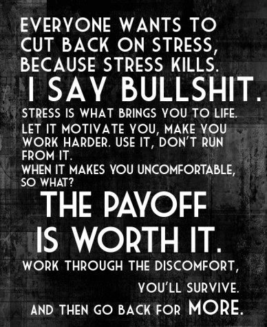 Everyone wants to cut back on stress, because stress kills. i say bullshit. stress is what brings you to life. let it motivate you, make you work harder. use it, don't run fro