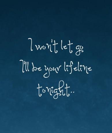 I won't let goi'll be your lifeline tonight..