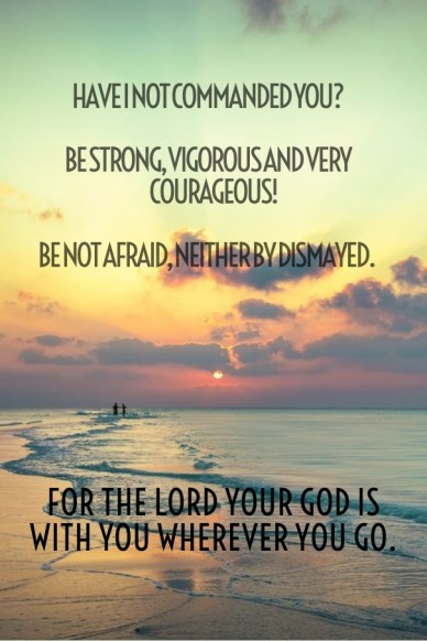 Have i not commanded you? be strong, vigorous and very courageous! be not afraid, neither by dismayed. for the lord your god is with you wherever you go.