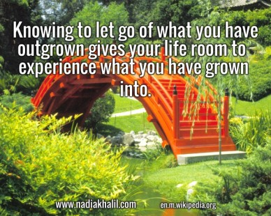 Knowing to let go of what you have outgrown gives your life room to experience what you have grown into. www.nadiakhalil.com en.m.wikipedia.org