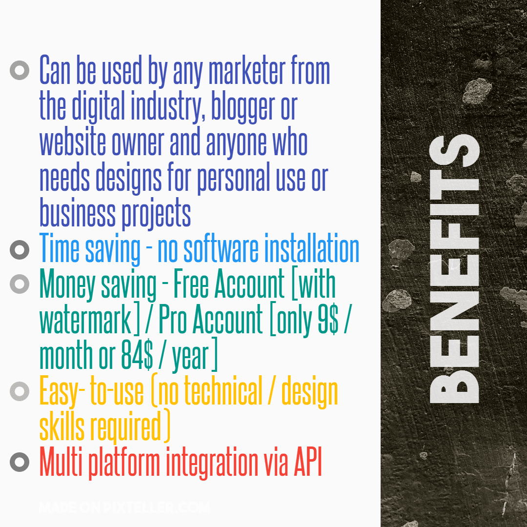 #PixTeller  - Benefits  Design  Template