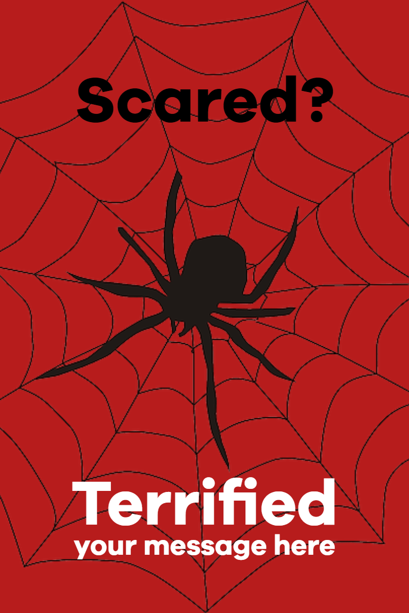 scared - terrofied spider #poster  Design  Template