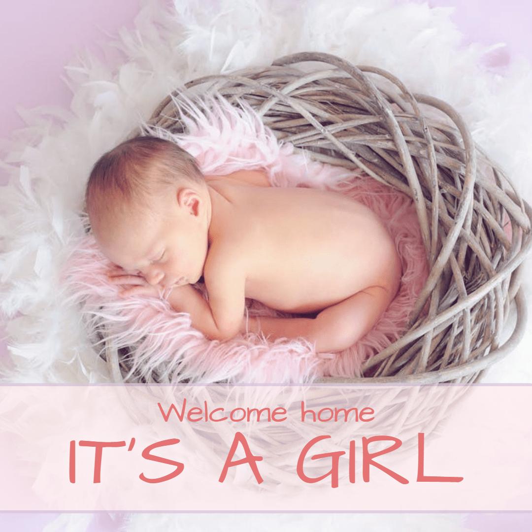 It's a girl #anniversary Design  Template