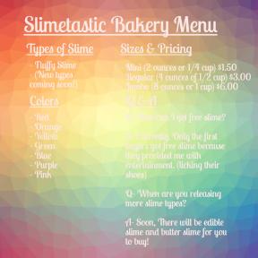 Slimestastic Bakery Menu