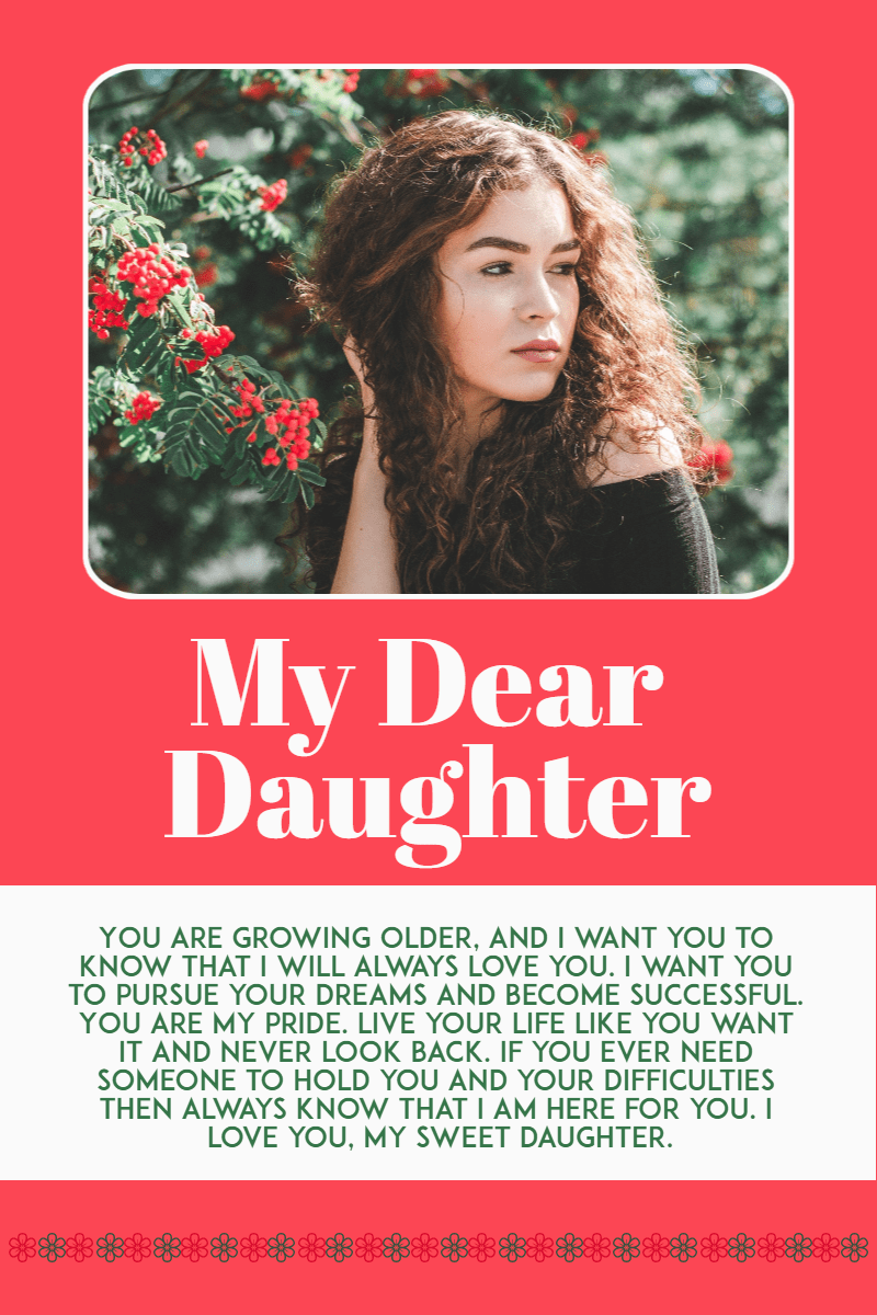 My daughter  #daughter #letter Design  Template