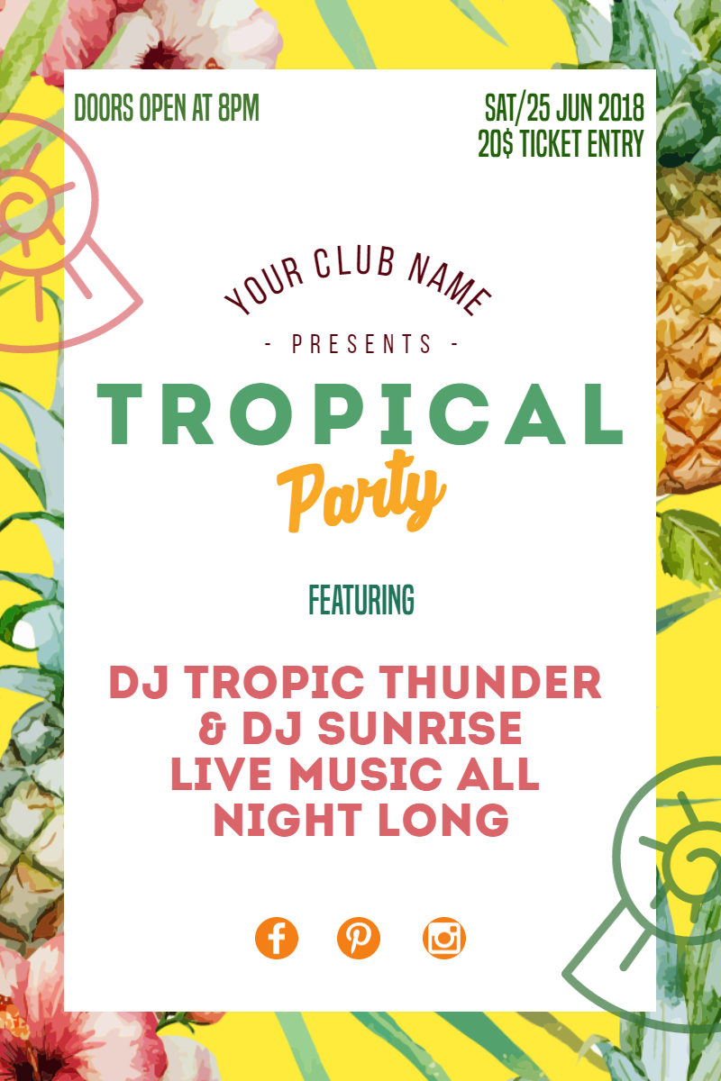 Tropical Party #invitation  #summer Design  Template