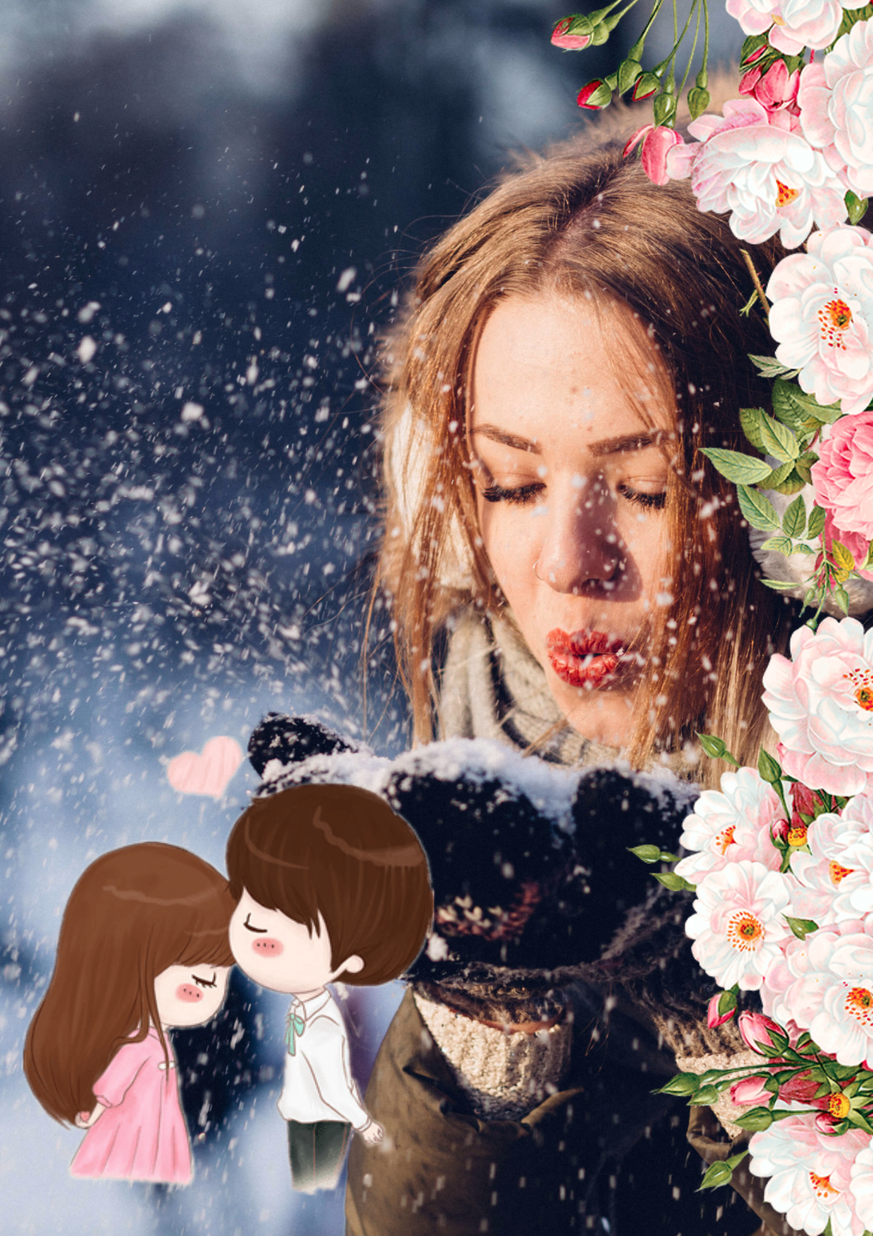 Season,                Romance,                Photomontage,                Interaction,                Flower,                Image,                Avatar,                Love,                White,                Black,                 Free Image