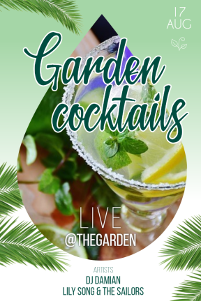 garden cocktails #summer #party #invitation #poster #green #cocktail