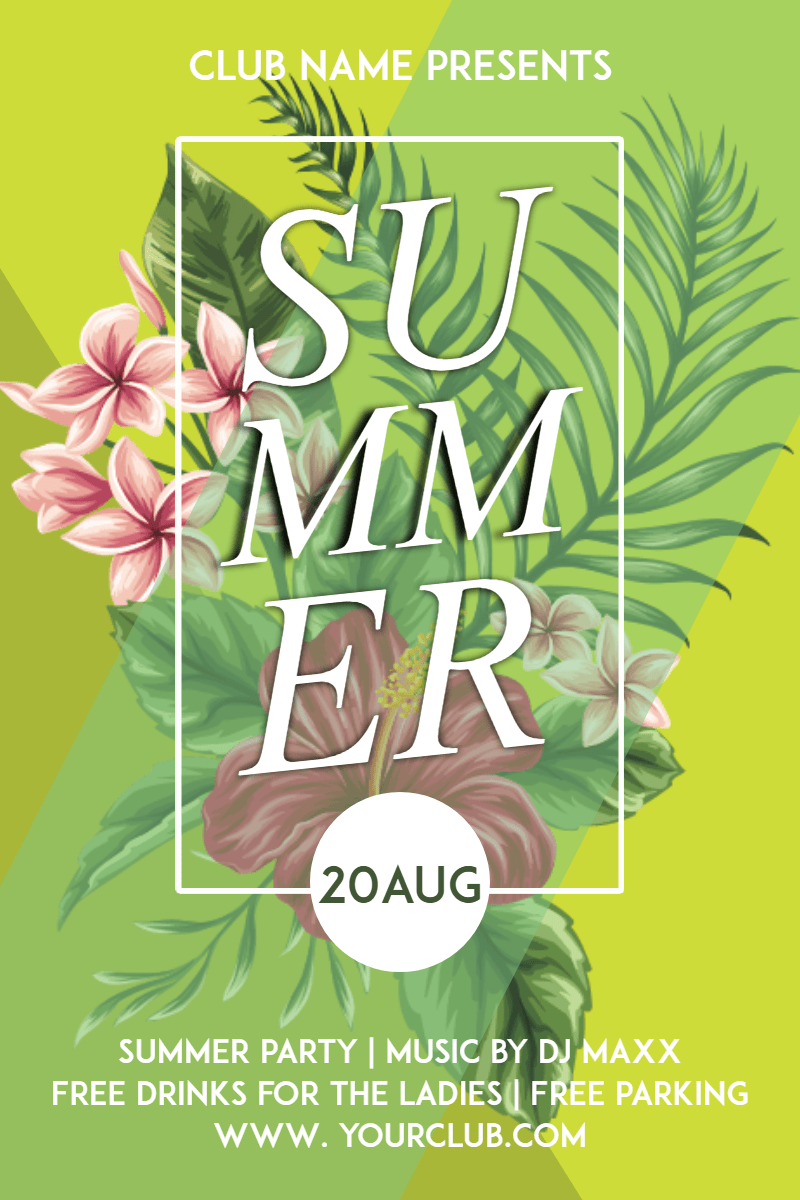 Text,                Flora,                Plant,                Botany,                Flower,                Invitation,                Party,                Summer,                Tropical,                Vibes,                Poster,                White,                Yellow,                 Free Image