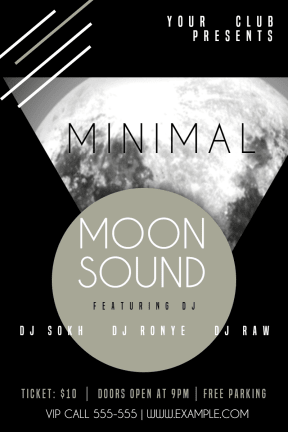 Club poster #invitation #minimal #poster #moon #club #fun