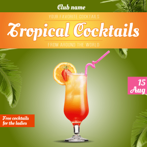 Tropical cocktails #ladiesnight #club #invitation #promotion #cocktails #tropic