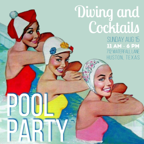 Pool party #invitation #pool #party #poolparty #retro #summer #vacation
