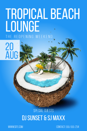 Tropical Beach Lounge #invitation #poster #tropical #party #vacation