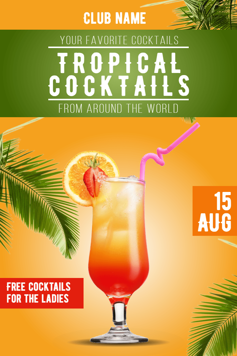 Tropical cocktails #ladiesnight Design  Template