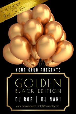 Gold Party #invitation #gold #golden #mockup #club #dance #fun