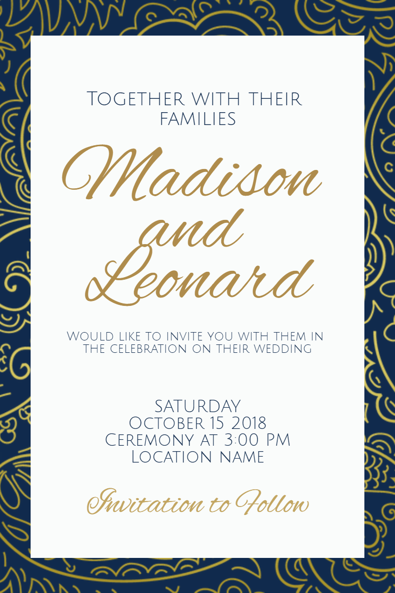 Blue, Text, Font, Calligraphy, Line, Invitation, Wedding, Love, Ceremony, Marriage, White, Black,  Free Image