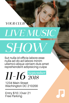 Live Music Show #Invitation #poster #live #music #show #vibes #template
