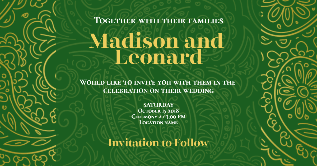 Green, Text, Font, Pattern, Organism, Invitation, Wedding, Love, Ceremony, Marriage, Black,  Free Image