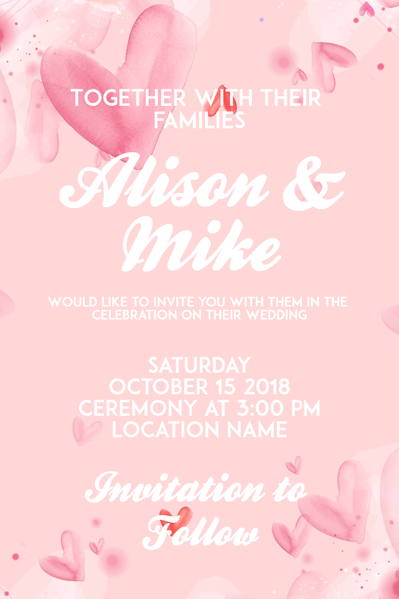 Pink, Text, Heart, Petal, Love, Invitation, Wedding, Ceremony, Marriage, White,  Free Image
