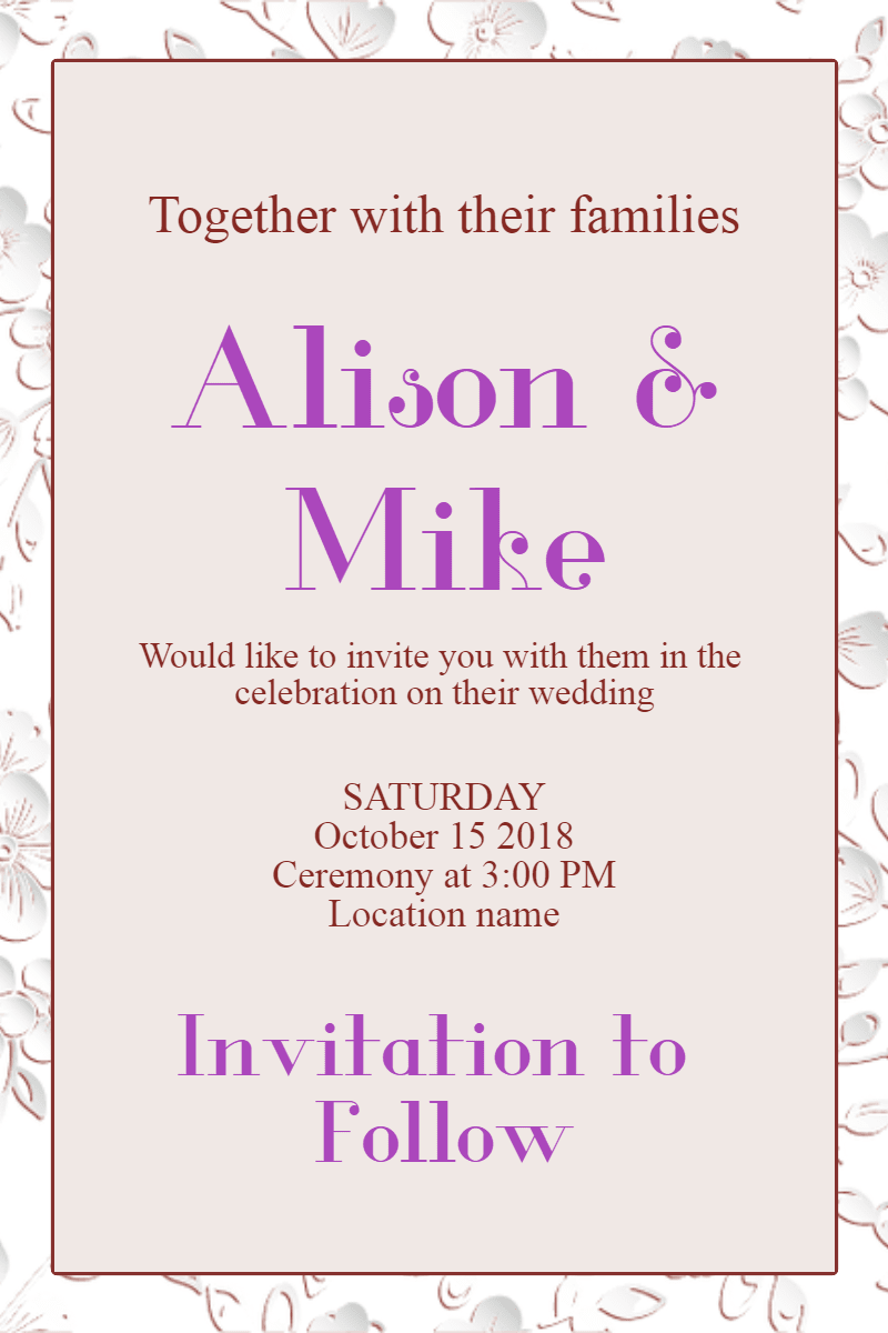 Text, Purple, Font, Line, Party, Supply, Invitation, Wedding, Love, Ceremony, Marriage, White,  Free Image