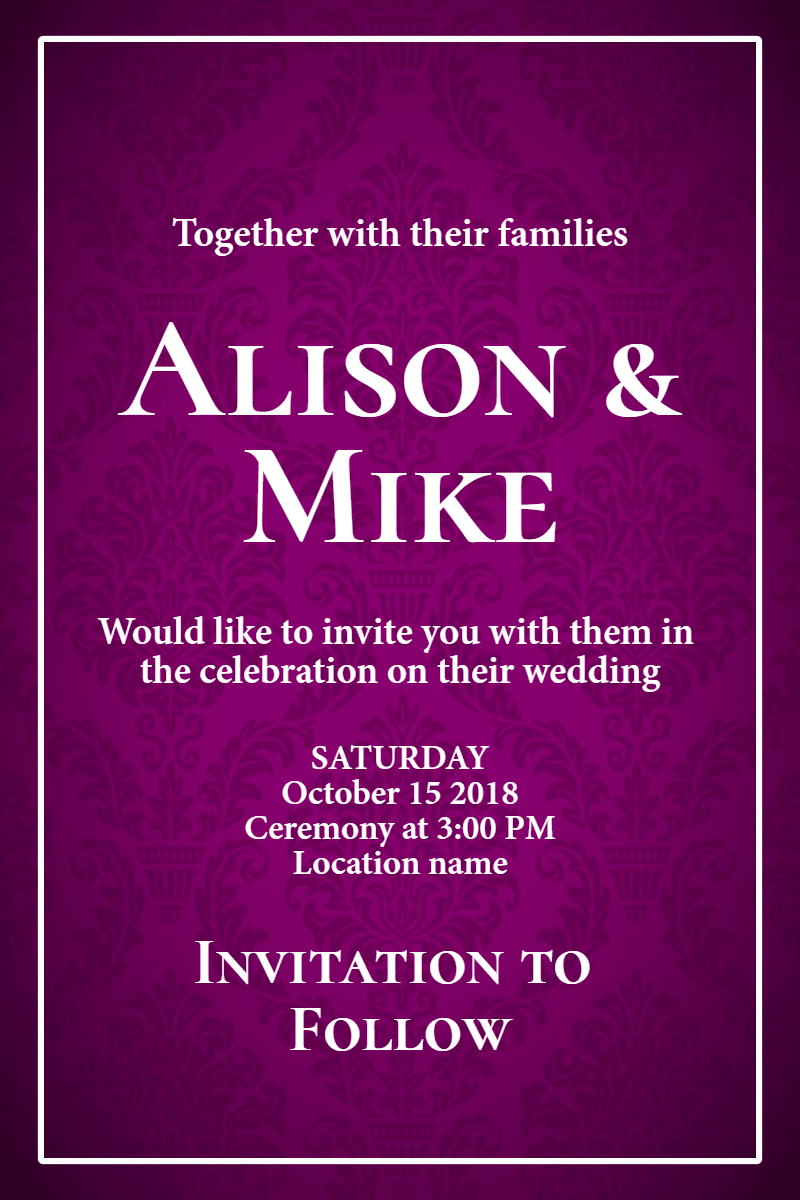 Text,                Purple,                Violet,                Font,                Poster,                Invitation,                Wedding,                Love,                Ceremony,                Marriage,                Black,                Fuchsia,                 Free Image
