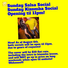 sunday salsa social open til 11pm