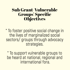 sub grant specific objectives