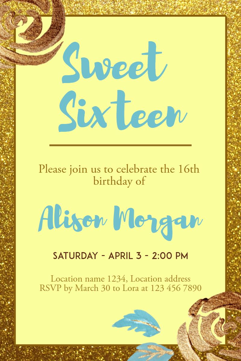 Sweet Sixteen #invitation Design  Template